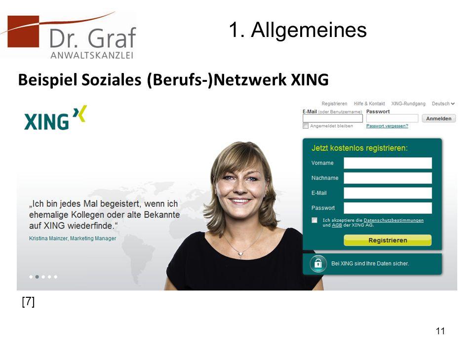 1. Allgemeines Beispiel Soziales (Berufs-)Netzwerk XING [7]